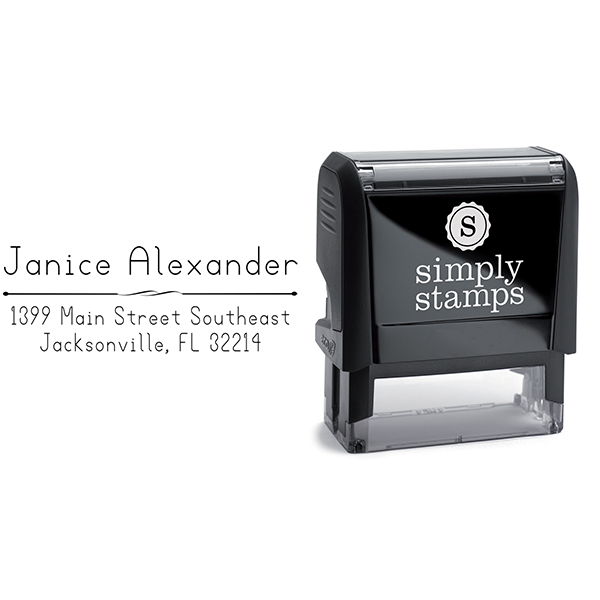 Alexander Simple Deco Address Stamp Body and Imprint