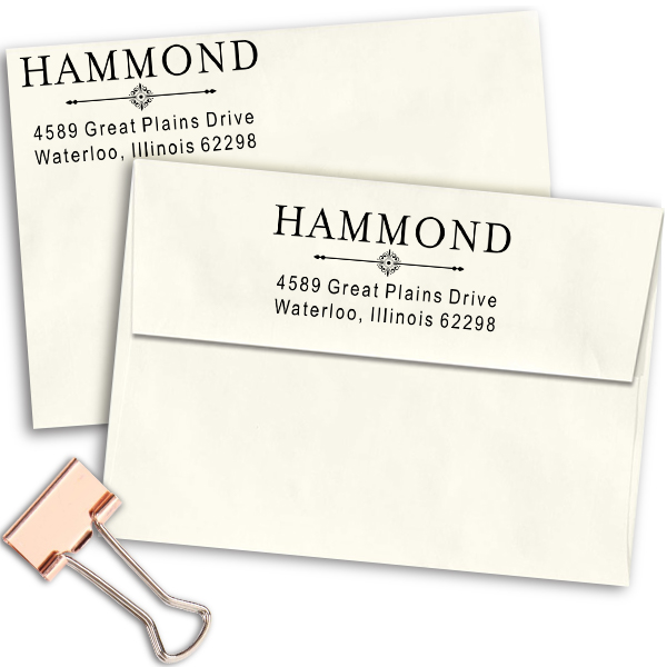 Hammond Art Deco Address Stamp Imprint Examples on Envelopes