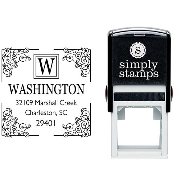 Four Corner Vintage Address Stamp Body and Imprint