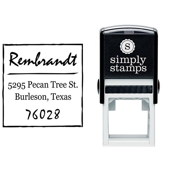 Scrawled Square Return Address Stamp Body and Design