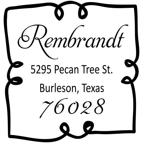 Extra Curly Border Return Address Stamp