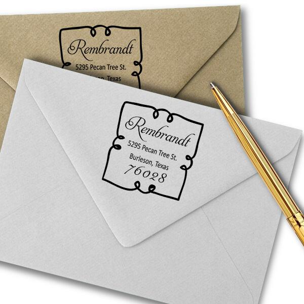 Extra Curly Border Return Address Stamp Imprint Example