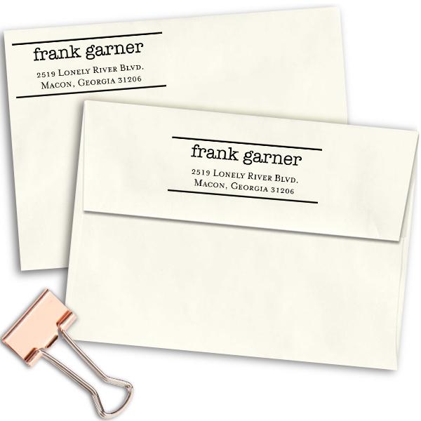 Typewritten Return Address Stamp Imprint Example