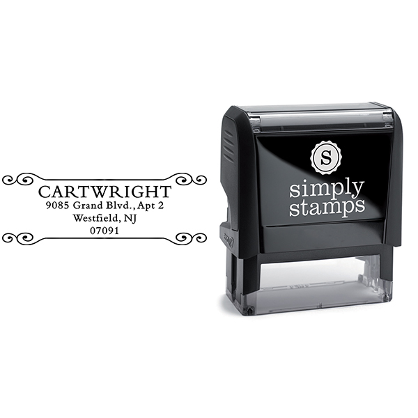 Cartwright Curled Deco Return Address Stamp Body and Design