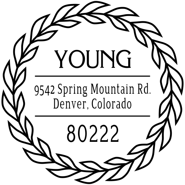 Young Leaf Wreath Address Stamp
