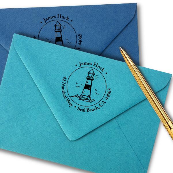 Island Lighthouse Round Return Address Stamp Imprint Example