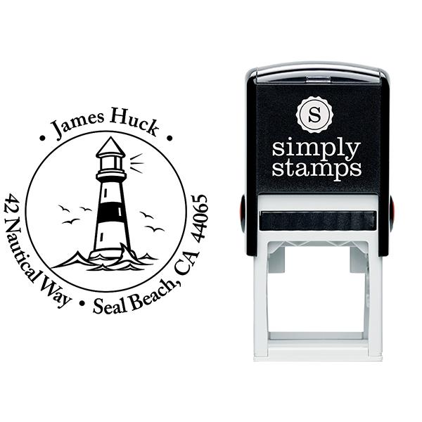 Island Lighthouse Round Return Address Stamp Body and Design
