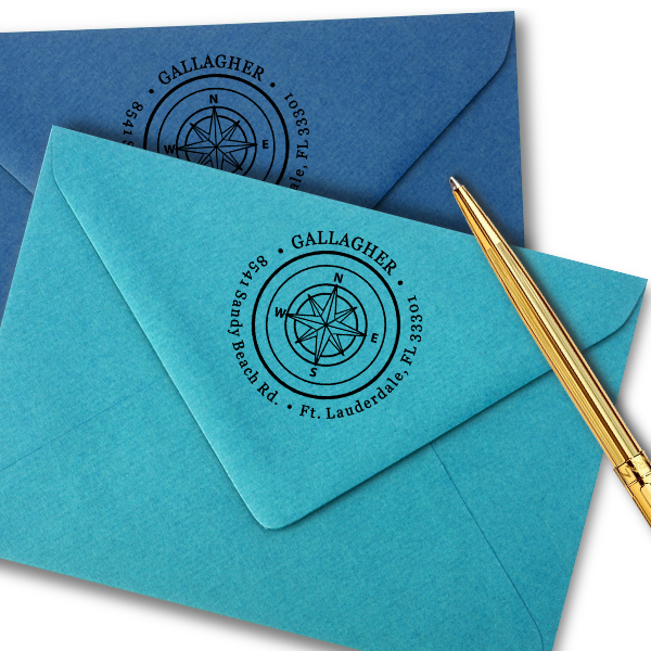 Gallagher Compass Double Border Return Address Stamp Imprint Example