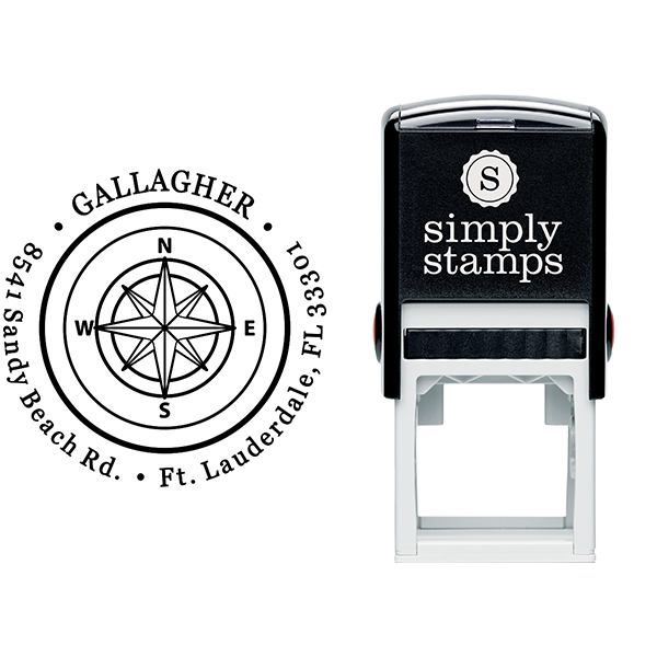 Gallagher Compass Double Border Return Address Stamp Body and Design