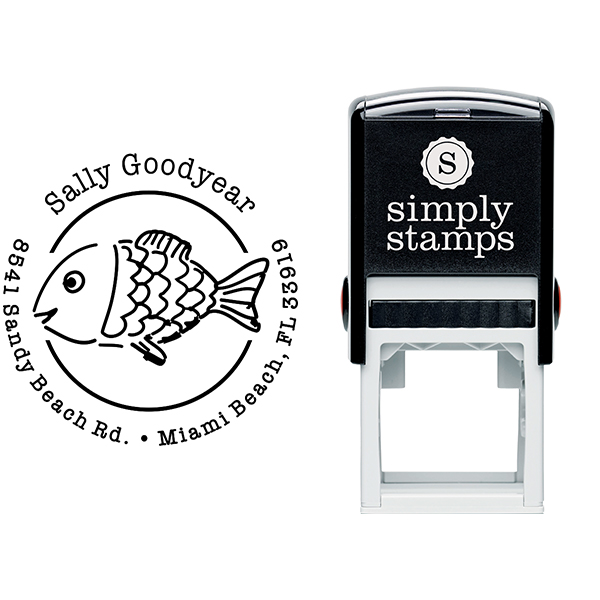 Sun Fish Return Address Stamp Body and Design
