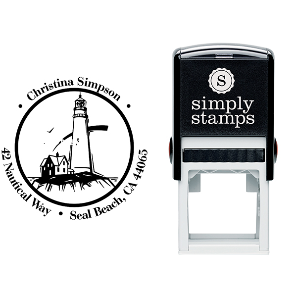 Lighthouse on Shore Round Address Stamp Body and Design