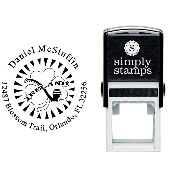 Ireland Shamrock Pipe Address Stamp Body and Design
