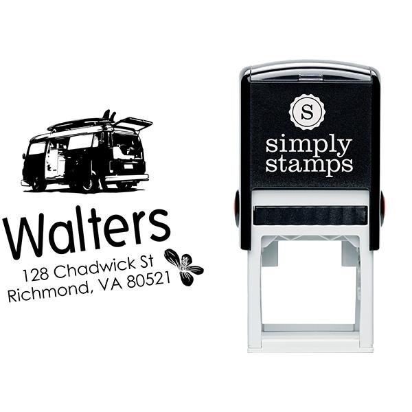 Retro Van Return Address Stamp Body and Design