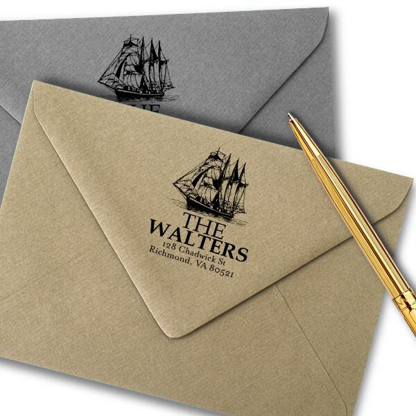 Nautical Ship Return Address Stamp Imprint Example
