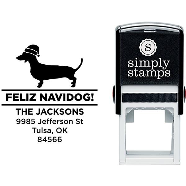 Feliz Navidog Daschund Holiday Address Stamp