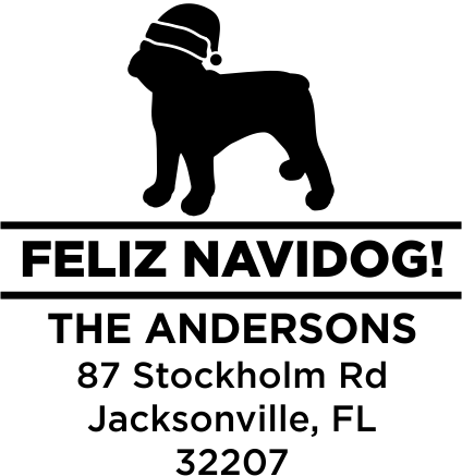 Feliz Navidog French Bulldog Holiday Address Stamp