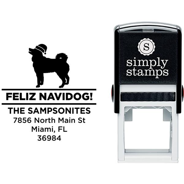 Feliz Navidog Husky Holiday Address Stamp