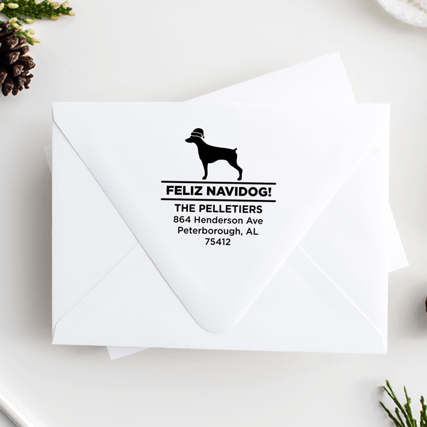 Feliz Navidog Pointer Holiday Address Stamp