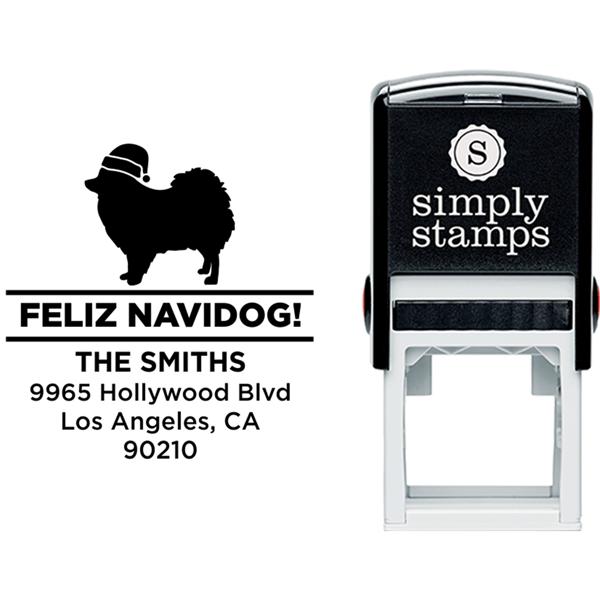 Feliz Navidog Pomeranian Holiday Address Stamp