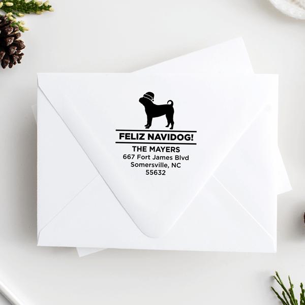 Feliz Navidog Pug Holiday Address Stamp