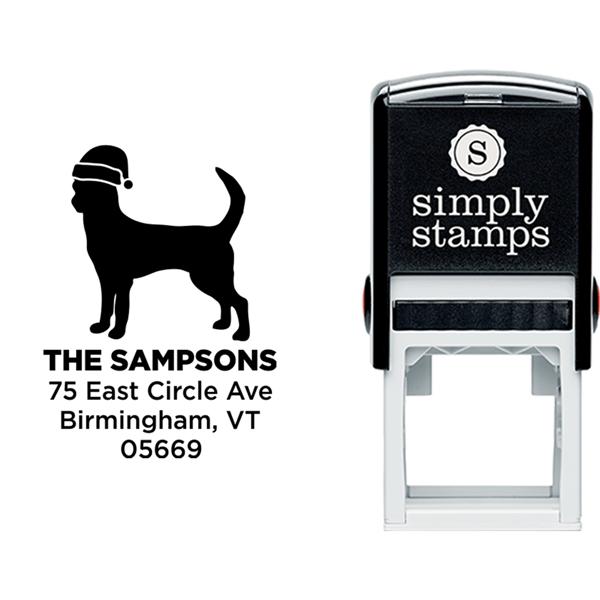 Chihuahua Dog With Santa Hat Holiday Address Stamp