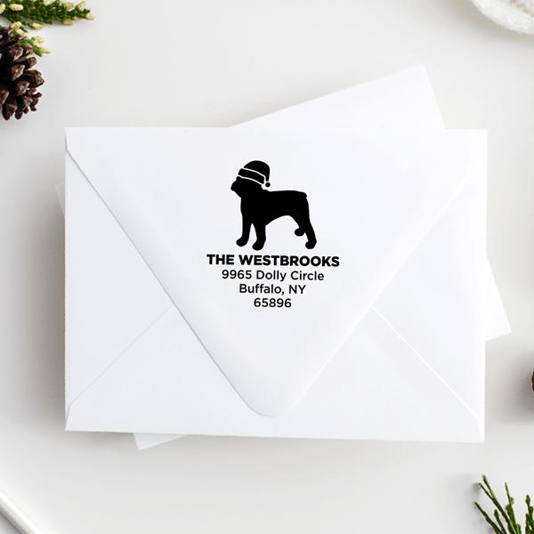 French Bull Dog With Santa Hat Holiday Address Stamp
