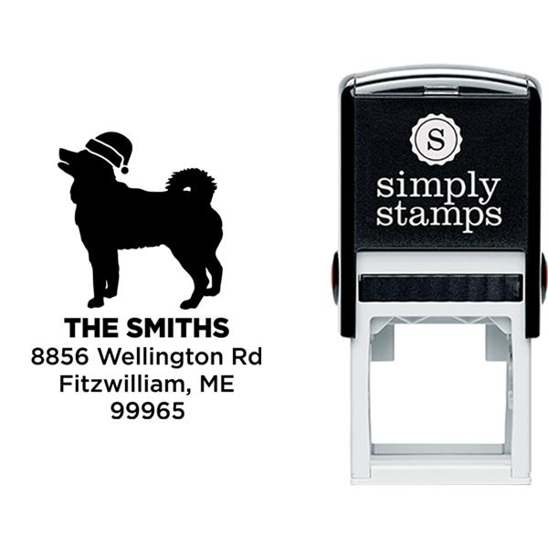 Husky Dog With Santa Hat Holiday Address Stamp