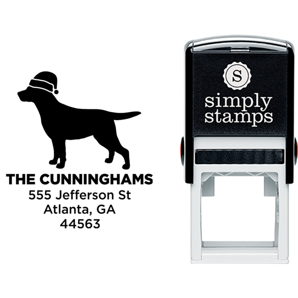 Labrador Dog With Santa Hat Holiday Address Stamp