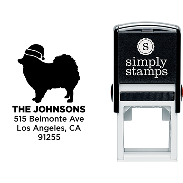 Pomeranian Dog With Santa Hat Holiday Address Stamp