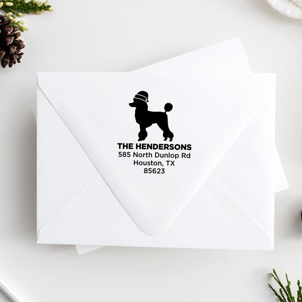 Poodle Dog With Santa Hat Holiday Address Stamp