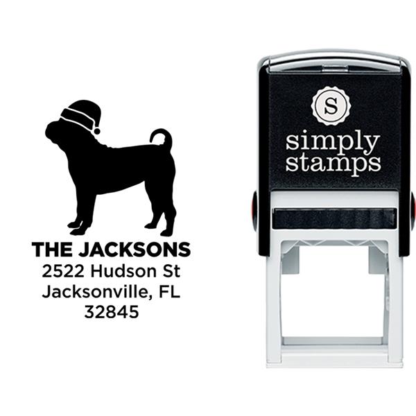 Pug Dog With Santa Hat Holiday Address Stamp