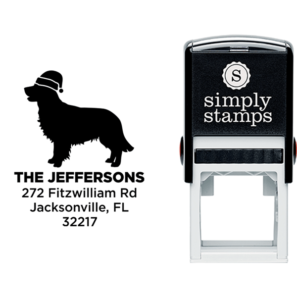 Retriever Dog With Santa Hat Holiday Address Stamp