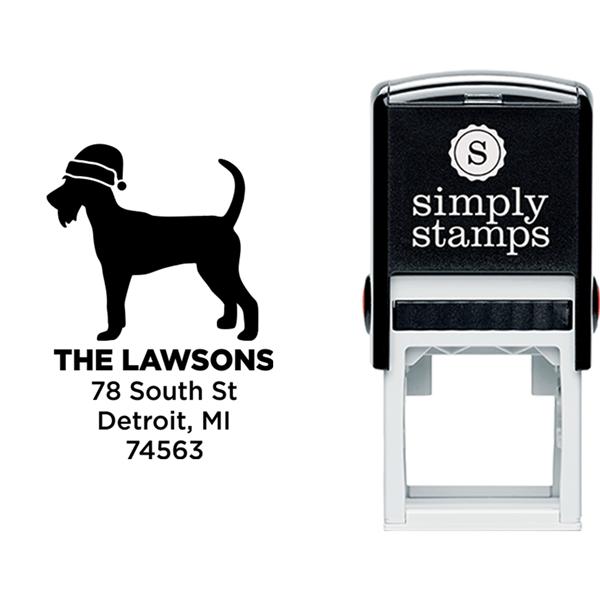 Schnauzer Dog With Santa Hat Holiday Address Stamp