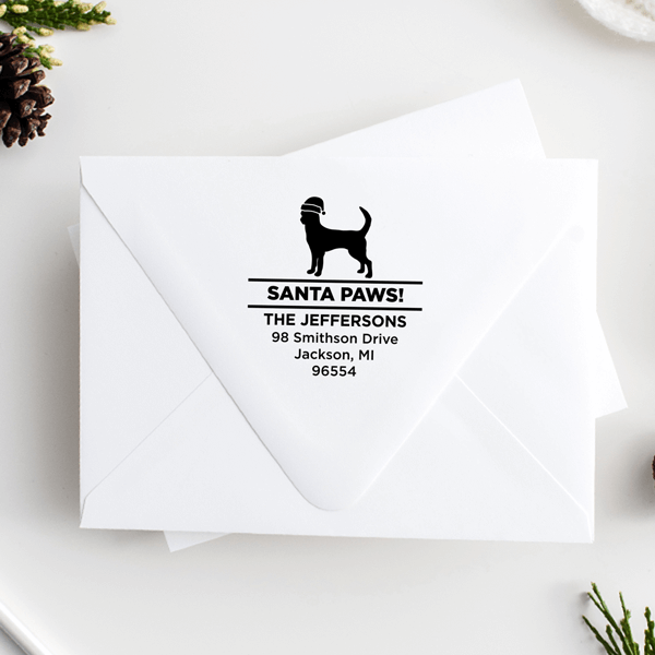 Santa Paws Chihuahua Holiday Address Stamp