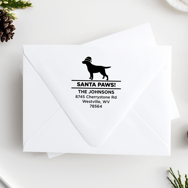 Santa Paws Labrador Holiday Address Stamp