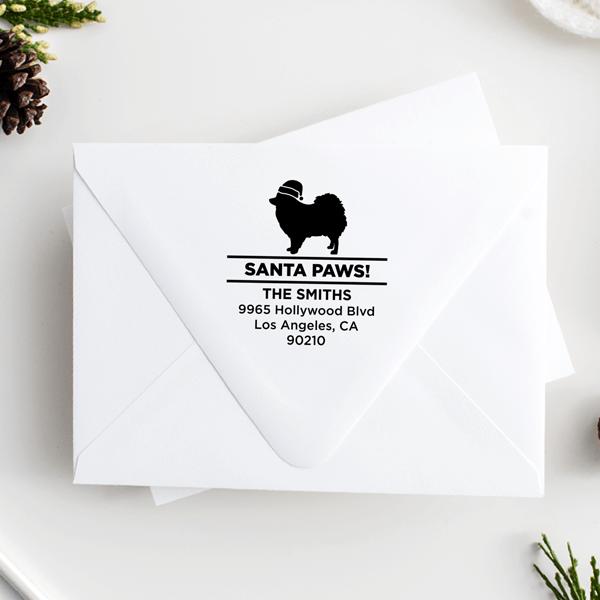 Santa Paws Pomeranian Holiday Address Stamp