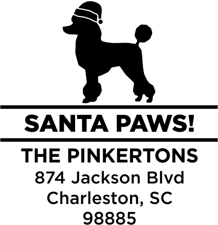 Santa Paws Poodle Holiday Address Stamp