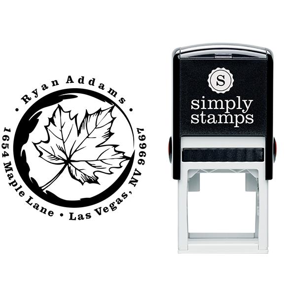 Fall Maple Leaf Custom Address Stamp Body and Design