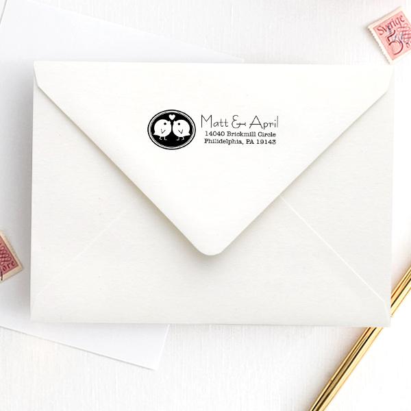 Love Bird Wedding Stamp Imprint Example