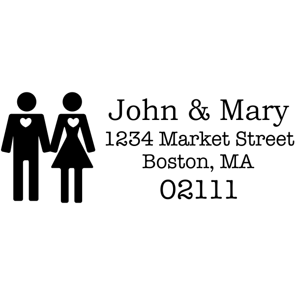 Married Couple Icon Return Address Stamp