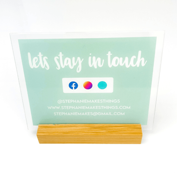Let's Stay in Touch Social Media Acrylic Sign