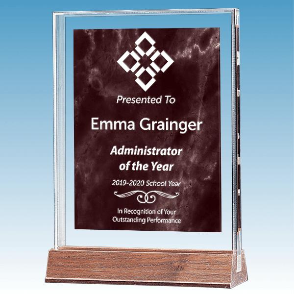 Admin Marble Ruby Polished Acrylic Award on Walnut Base