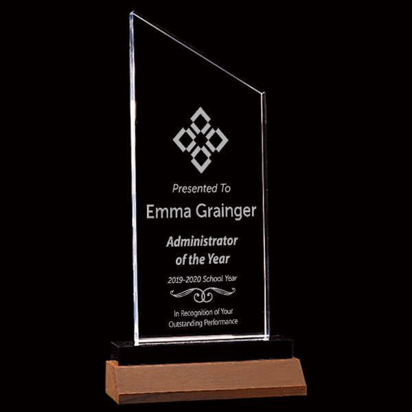 Admin of the Year Zenith Series Clear Acrylic Award w/Walnut Base