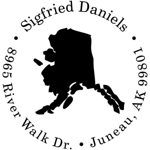 Alaska Round Address Stamp