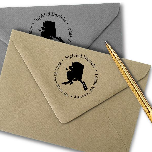 Alaska Round Address Stamp Imprint Example