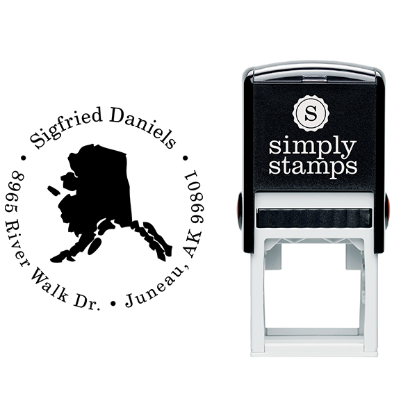 Alaska Round Address Stamp Body and Design