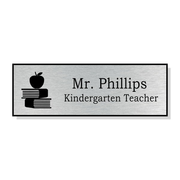 Apple on Book Stack School Name Tag