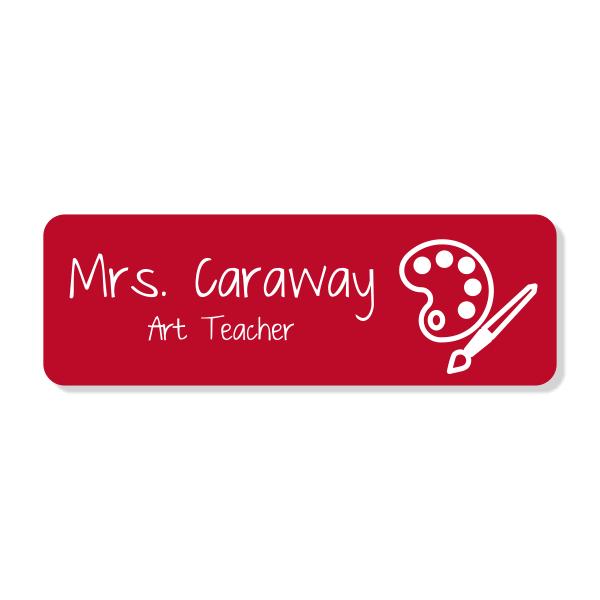 Art Teacher Rectangle School Name Tag