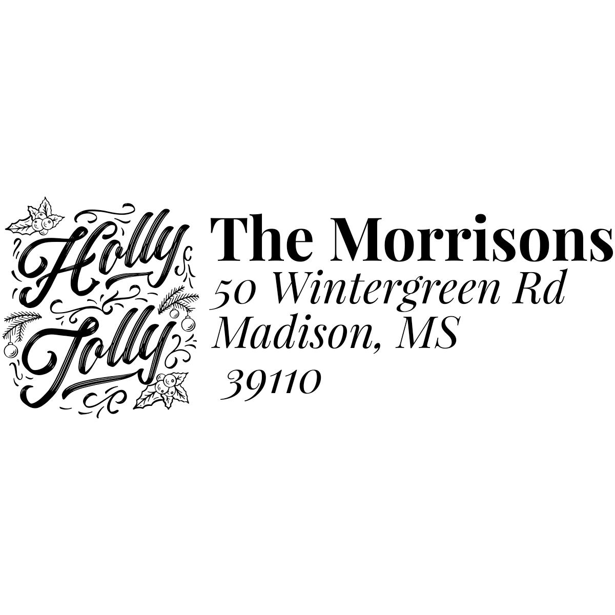Holly Jolly Script Custom Holiday Address Stamp