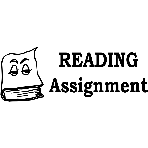 Assignment - Cartoon Book READING Assignment Rubber Teacher Stamp